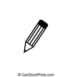 -, icono, blanco, negro, fondo., lápiz, vector