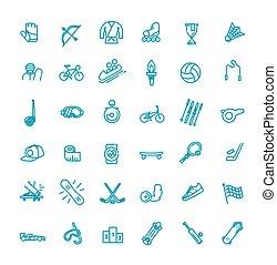 -, icono, conjunto, contorno, tela, condición física, deporte