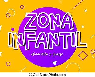 -, inglés, niños, zona, vector, infantil, zona, juego, señal, patio de recreo, diseño, bandera, fondo., niño