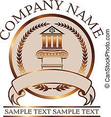 -, ley, iónico, o, sello oro, columna, columnata, abogado