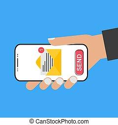 -, llevar a cabo la mano, estilo, smartphone, e-mail, pantalla, enviar, it!, diseño, moderno