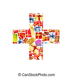 -, más, hecho, giftboxes, alfabeto