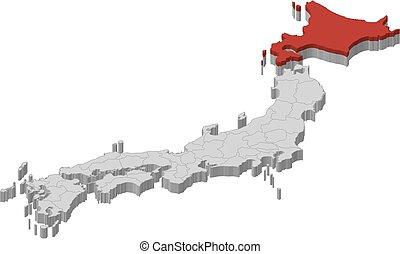 -, mapa, 3d-illustration, hokkaido, japón