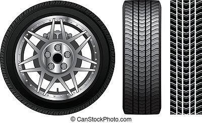 -, neumático, frenos, borde, rueda