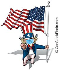 -, norteamericano, quirúrgico, sam, necesidad, usted, máscara, bandera, tío