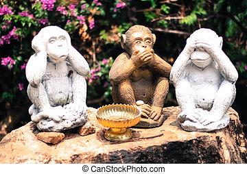 -, oír, tres, ver, hablar, no, monos