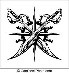 -, o, entrepuente, sabers., emblema, piratas, rueda, cruzado, espadas