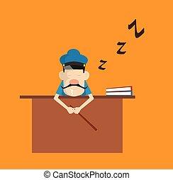-, oficina, caricatura, policía, policía, sueño, escritorio