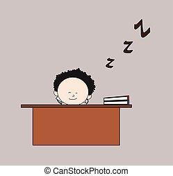 -, oficina, caricatura, sueño, doctor, escritorio