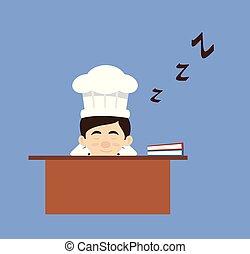 -, oficina, caricatura, sueño, escritorio, chef