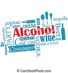 -, palabras, nube, alcohol