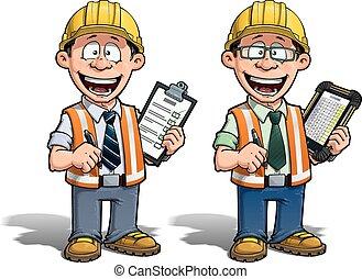 -, proyecto, trabajador construcción, manag