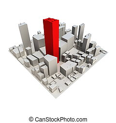 -, rascacielos, cityscape, modelo, rojo, 3d