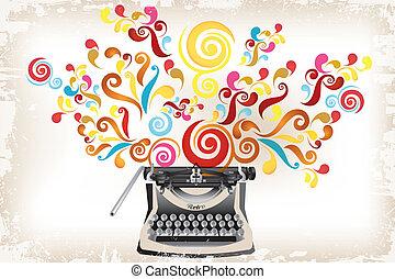 -, remolinos, creatividad, resumen, máquina de escribir