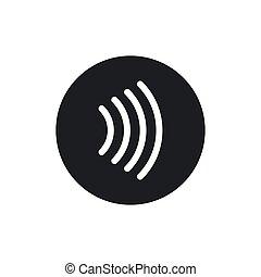 -, signo., golpecito, paga, vector, contactless, concepto, pago, icon.