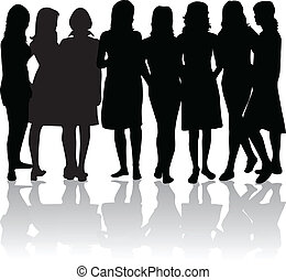 -, siluetas, mujeres, grupo, negro