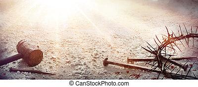 -, suelo, martillo, árido, pasión, sangriento, espinas, clavos, cristo, jesús, corona
