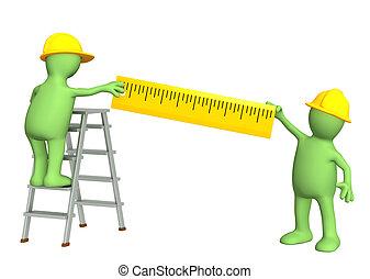 -, títeres, 3d, constructores, regla