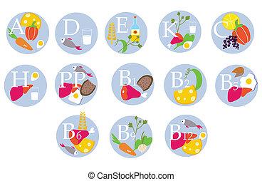 -, tabla, divertido, vitaminas, iconos del alimento