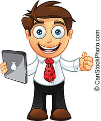 -thumbs, hombre, tableta, empresa / negocio, arriba