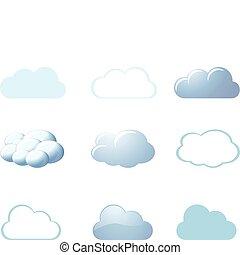 -, tiempo, nubes, iconos