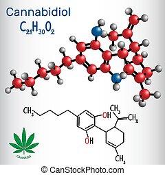 -, tiene, model., fórmula, estructural, cannabis, cannabidiol, cannabinoid, químico, activo, (cbd), molécula, antipsychotic, efectos