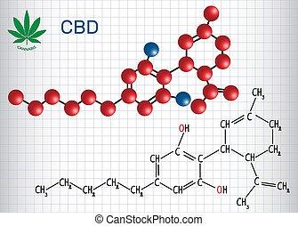 -, tiene, papel, model., fórmula, hoja, estructural, cannabis, cannabidiol, jaula, cannabinoid, químico, activo, molécula, effects., antipsychotic, (cbd)