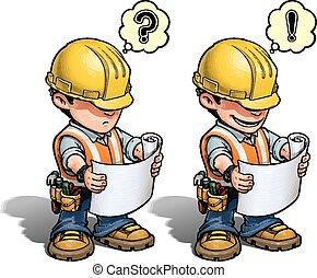 -, trabajador construcción, plan, lectura