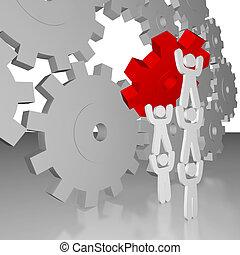 -, trabajo, trabajo en equipo, completar