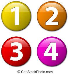 -, tres, dos, cuatro, vector, números, uno, insignias