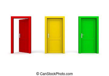 -, tres, puertas coloreadas, abierto, rojo