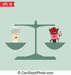 -, vector, balance, bueno, eps10, malo, ilustración, concepto