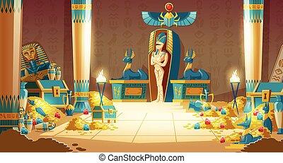 -, vector, egipcio, sarcófago, pyramid., faraón, caricatura, tumba