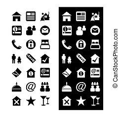 -, vector, icono, conjunto, hotel, iconos