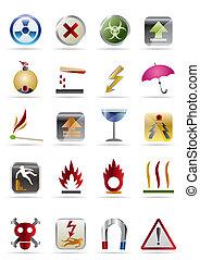 -, vector, señales, icono, peligros, conjunto