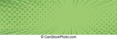 -, vector, zumbido, panorámico, cómico, líneas, verde