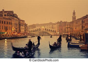 -, venecia italia, puente rialto