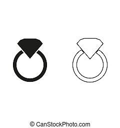 -, verde, anillo, vector, icono, diamante