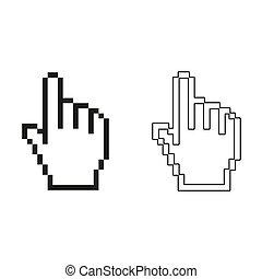 -, verde, mano, pixel, vector, icono