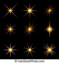 0207, starburst, colección, dorado