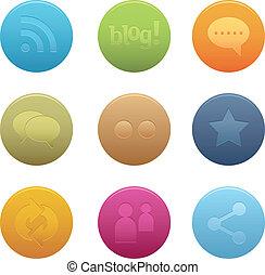 05 círculos de iconos de los medios sociales
