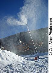1, cañón, nieve, vertical