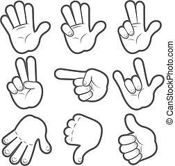 #1, caricatura, manos