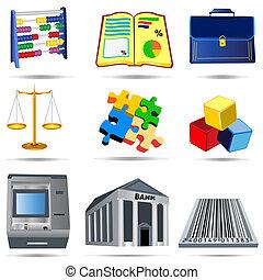 1, contabilidad, conjunto, iconos
