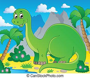 1, dinosaurio, escena