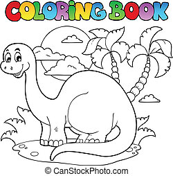1, dinosaurio, libro colorear, escena