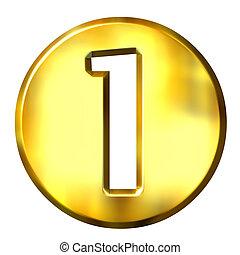 1, dorado, 3d, número, encuadrado