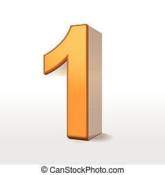 1, dorado, número, 3d