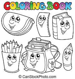1, escuela, libro colorear, caricaturas