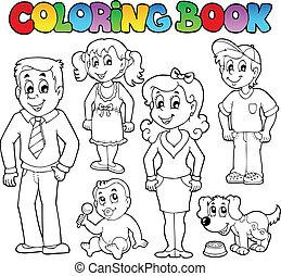 1, familia , libro colorear, colección